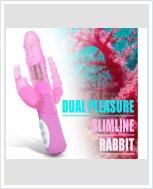 Тройной секс-вибратор Dual Pleasure Slimline Rabbit