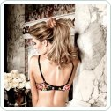 Бюстгалтер Black Underwire Bra Flower Pattern, 32B